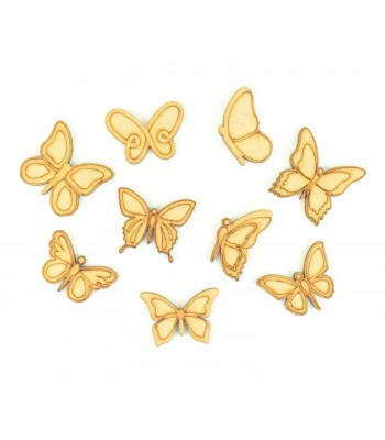 Laser Cut Butterfly Pack of 9 Shapes