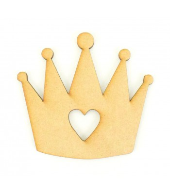 Laser Cut Princess Crown with Heart Shape