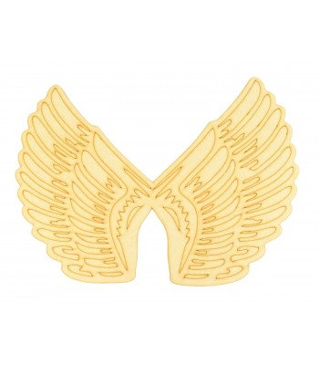 Laser Cut Large Joined Etched Angel Wing Plaque