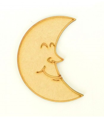 Laser Cut Etched Smiling Moon Shape