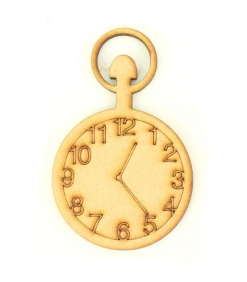 Laser Cut Etched Pocket Watch Shape