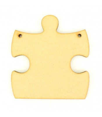 Laser Cut Plain Puzzle End Piece Shape with 2 Holes