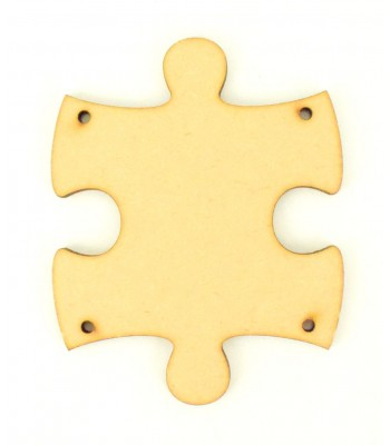 Laser Cut Plain Puzzle Piece Shape with 4 Holes