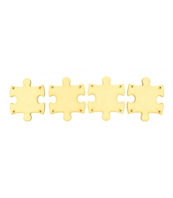 Laser Cut Plain Puzzle Bunting with 4 Holes - Pack of 10