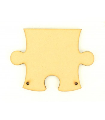 Laser Cut Plain Puzzle Start Piece Shape with 2 Holes