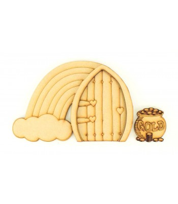 Laser Cut Etched Magic Fairy Door with Rainbow & Pot of Gold