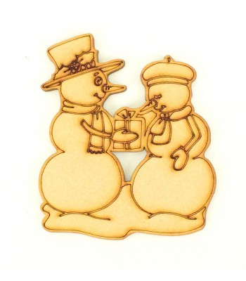Laser Cut Cute Etched Snowman Couple Shape