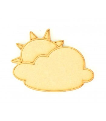 Laser Cut Etched Cloud With Sun Shape