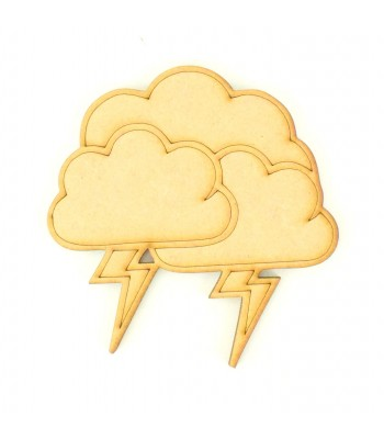Laser Cut Etched Clouds With Lightening