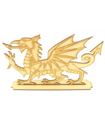 Laser Cut Welsh Dragon Shape on a Stand