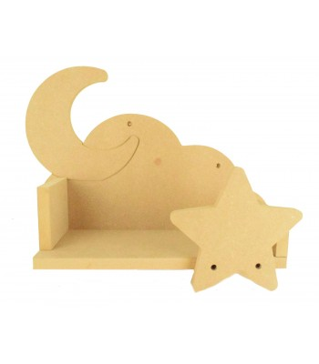 Routered 18mm MDF Quality Flat packed 3D Cloud Shelf with Moon Back & Star Front