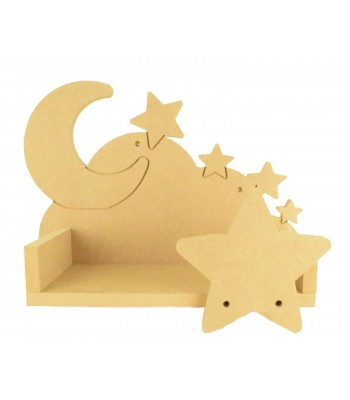 Routered 18mm MDF Quality Flat packed 3D Cloud Shelf with Moon Stars Back & Star Front
