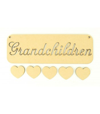 Laser Cut 'Grandchildren' Stencil Plaque with 5 Hearts
