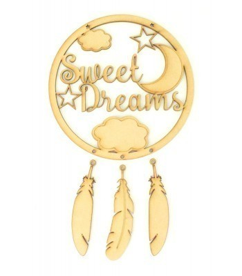 Laser Cut 'Sweet Dreams' Dream Catcher with Hanging Feathers