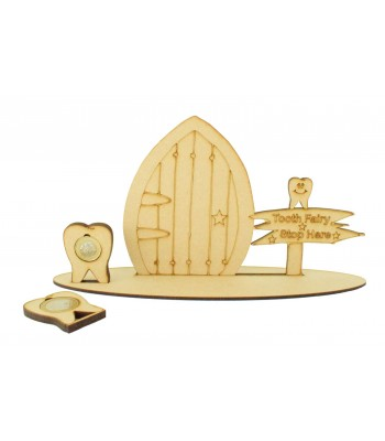 Laser Cut Tooth Fairy Door on a Stand with Tooth £1 and £2 Holders - Star Design