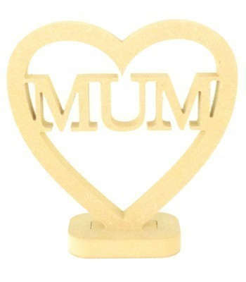 18mm MDF Small Mum Heart on a stand
