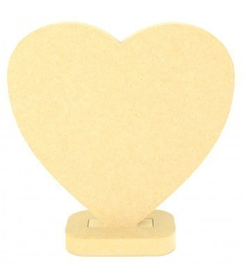 18mm MDF Small Plain Solid Heart on a stand
