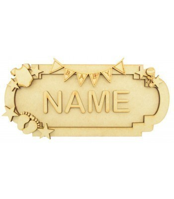 Laser Cut Personalised 3D Fancy Street Sign - Baby Themed - Size Options
