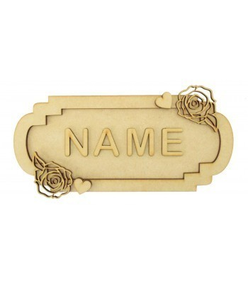 Laser Cut Personalised 3D Fancy Street Sign - Rose Themed - Size Options