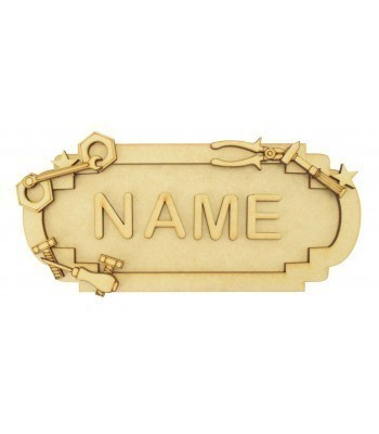 Laser Cut Personalised 3D Fancy Street Sign - Tools Themed - Size Options