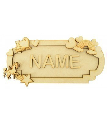 Laser Cut Personalised 3D Fancy Street Sign - Unicorn Themed - Size Options