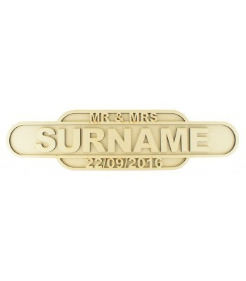 Laser cut Personalised Mr & Mrs Wedding 3D Large Train Signs - 6mm - NEW DESIGN