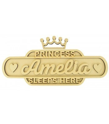 Laser cut Personalised 'Princess Sleeps Here' 3D Medium Train Signs - 6mm