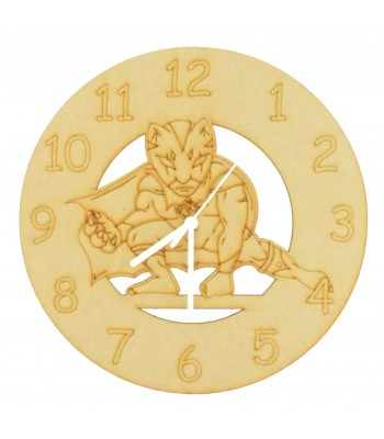 Laser cut Hand Drawn Superhero Jaguar Clock with Clock Mechanism