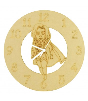 Laser cut Hand Drawn Superhero Laser Woman Clock with Clock Mechanism