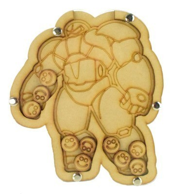 Laser Cut Hand Drawn Superhero Robot Childrens Budget Reward Chart Drop Box - Smiley Face Tokens