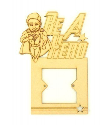 Laser Cut Hand Drawn Laser Man Superhero 'Be A Hero' Light Switch Surround