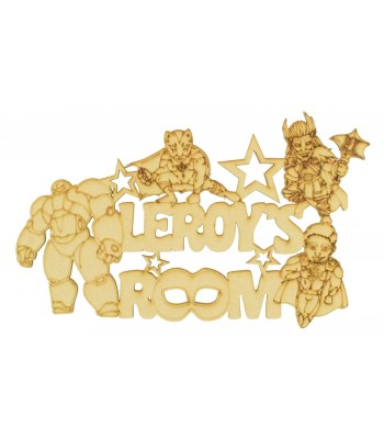 Laser Cut Personalised '.... Room' Sign with Hand Drawn Superheroes