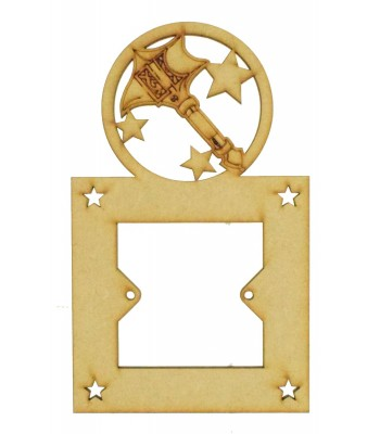 Laser Cut Hand Drawn Superhero Hammer Logo Light Switch Surround