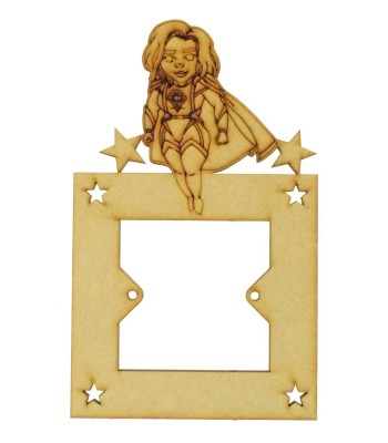 Laser Cut Hand Drawn Superhero Laser Woman Light Switch Surround