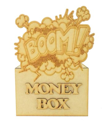 Laser Cut Superhero Comic Book 'Boom!' Word Explosion Money Box