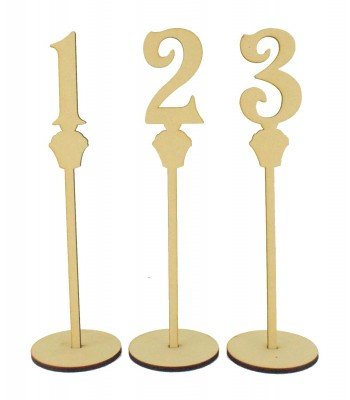 Laser Cut 6mm Wedding Table Numbers on Stands - Cupcake Design