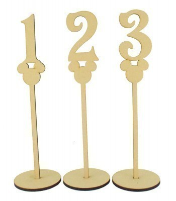 Laser Cut 6mm Wedding Table Numbers on Stands - Mouse Head Design