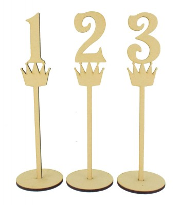 Laser Cut 6mm Wedding Table Numbers on Stands - Princess Crown Design