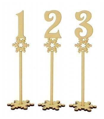 Laser Cut 6mm Wedding Table Numbers on Stands - Snowflake Design