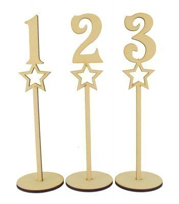 Laser Cut 6mm Wedding Table Numbers on Stands - Star Design