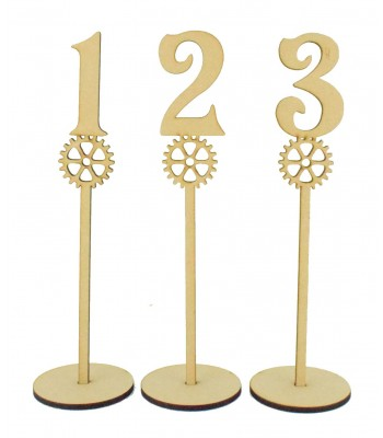 Laser Cut 6mm Wedding Table Numbers on Stands - Steampunk Cogs Design
