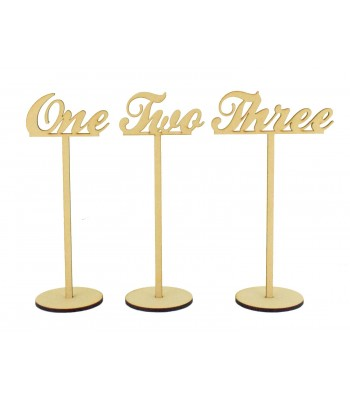 Laser Cut 6mm Wedding Table Numbers on Stands - Script Font Words
