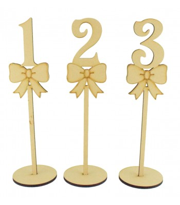 Laser Cut 6mm Wedding Table Numbers on Stands - Bow Design