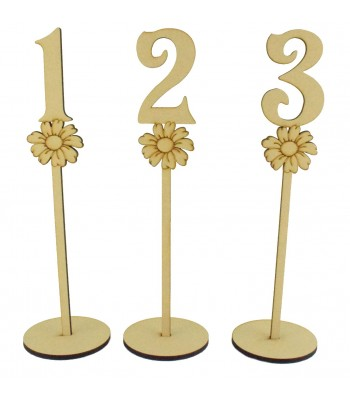 Laser Cut 6mm Wedding Table Numbers on Stands - Flower Design