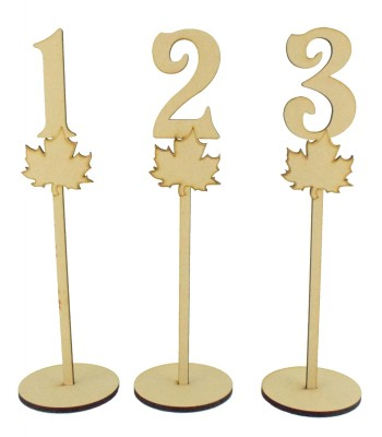 Laser Cut 6mm Wedding Table Numbers on Stands - Leaf Design