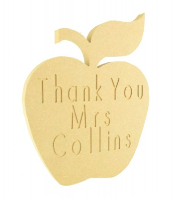 18mm Freestanding MDF Personalised Engraved 'Thank You' Teachers Apple