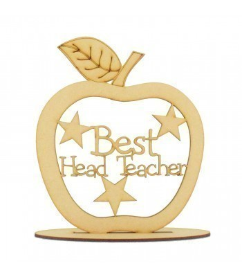 Laser Cut 'Best Head Teacher' Apple Shape on a Stand
