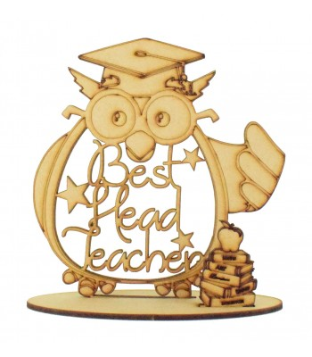Laser Cut Personalised 'Best Teacher' Owl Shape and Books on a Stand