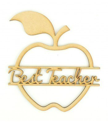 Laser Cut 'Best Teacher' Split Apple Shape Sign