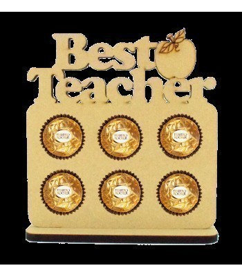 6mm 'Best Teacher' Plaque Ferrero Rocher Holder on a Stand